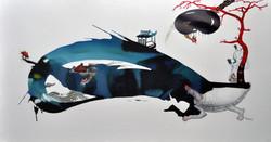 꿈꾸는 섬,150cmx80cm,종이에혼합재료,2011년