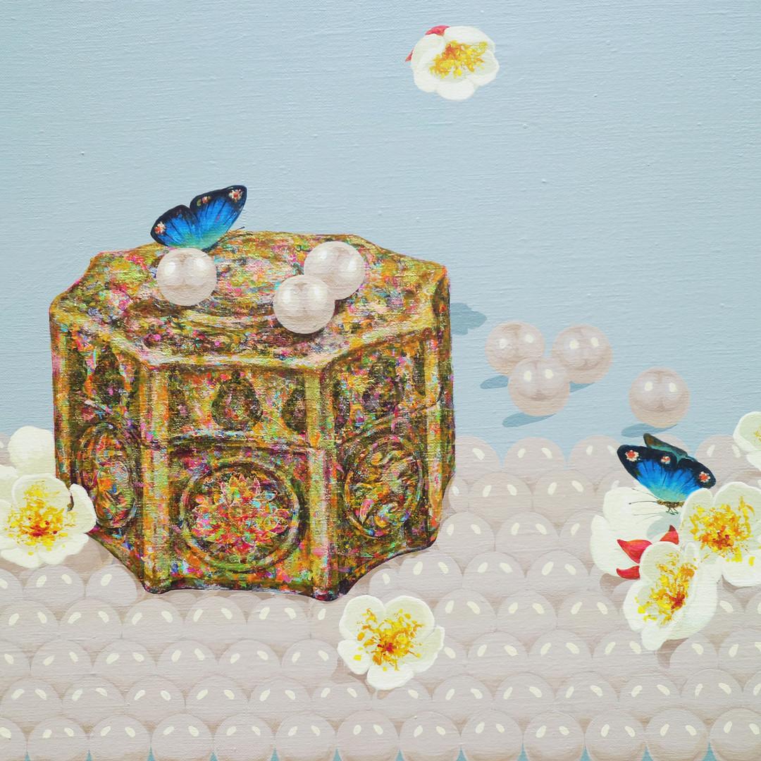 007, 원빈홍씨 화장품 그릇 (팔각) 72.7x53cm Acrylic