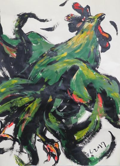 닭 드로잉 44.5ⅹ60.2cm 종이위에 아크릭 2017