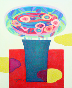 018, 차명주, 붉은 테이블 위의 꽃병, 65.1 x 53.0 cm, oil on canvas, 2021, 375만원