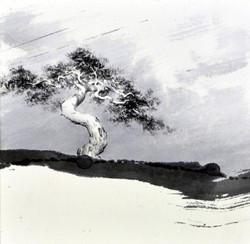 하늘과 땅 사이에, 20x20cm, 화선지에 수묵, 2017