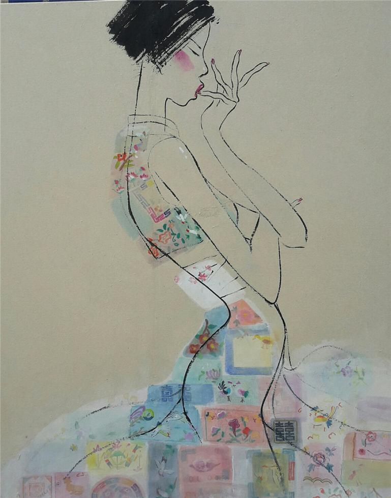 최경자, 베갯송사, 91x73cm, 한지위에혼합재료, 2017