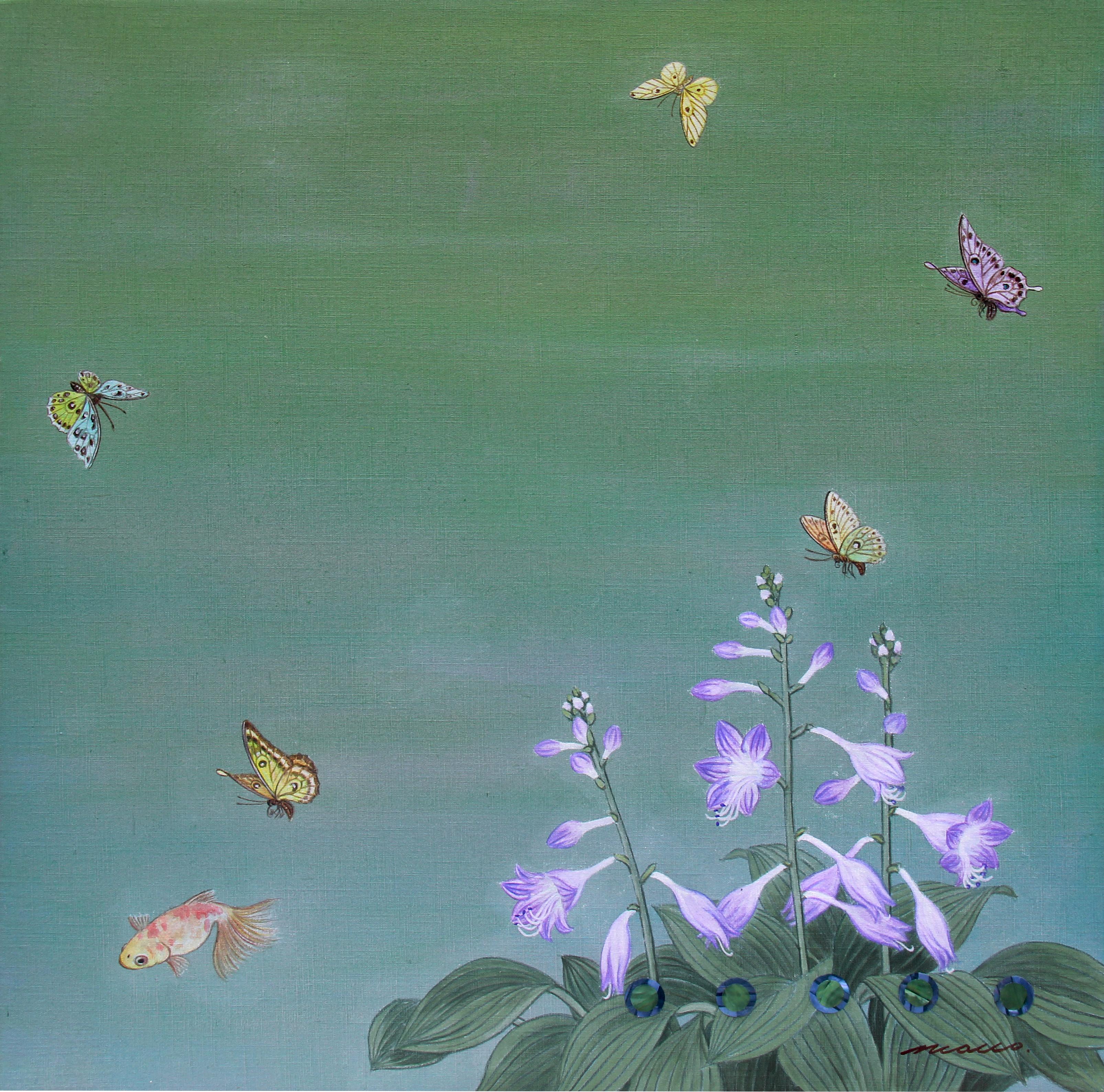 021, 조현동, 자연-순환-이야기, 60 x 60 cm, 천에 혼합재료