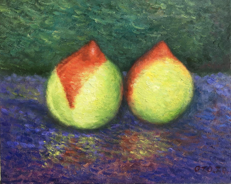 박재웅2, 두 개의 천도 복숭아, 27 x 22 cm, oil on ca