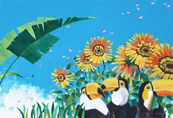 Oasis-The Sunflower 2 116.8x72.5cm Acrylic on canvas 2017