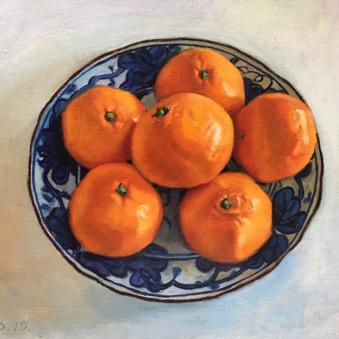 021, 여섯 개의 귤, 34 x 27 cm, oil on canvas,