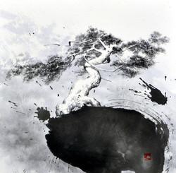 분주한, 25x25cm, 화선지에 수묵, 2017