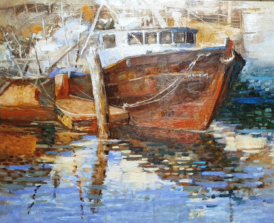 최수란, 루블레냐 호수에서, 91 x 65 cm, oil on canva