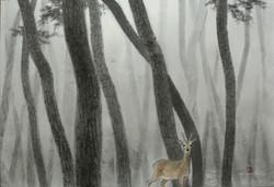사려니 숲에서, 50 x 73 cm, 종이에 먹 토분, 2019, 200
