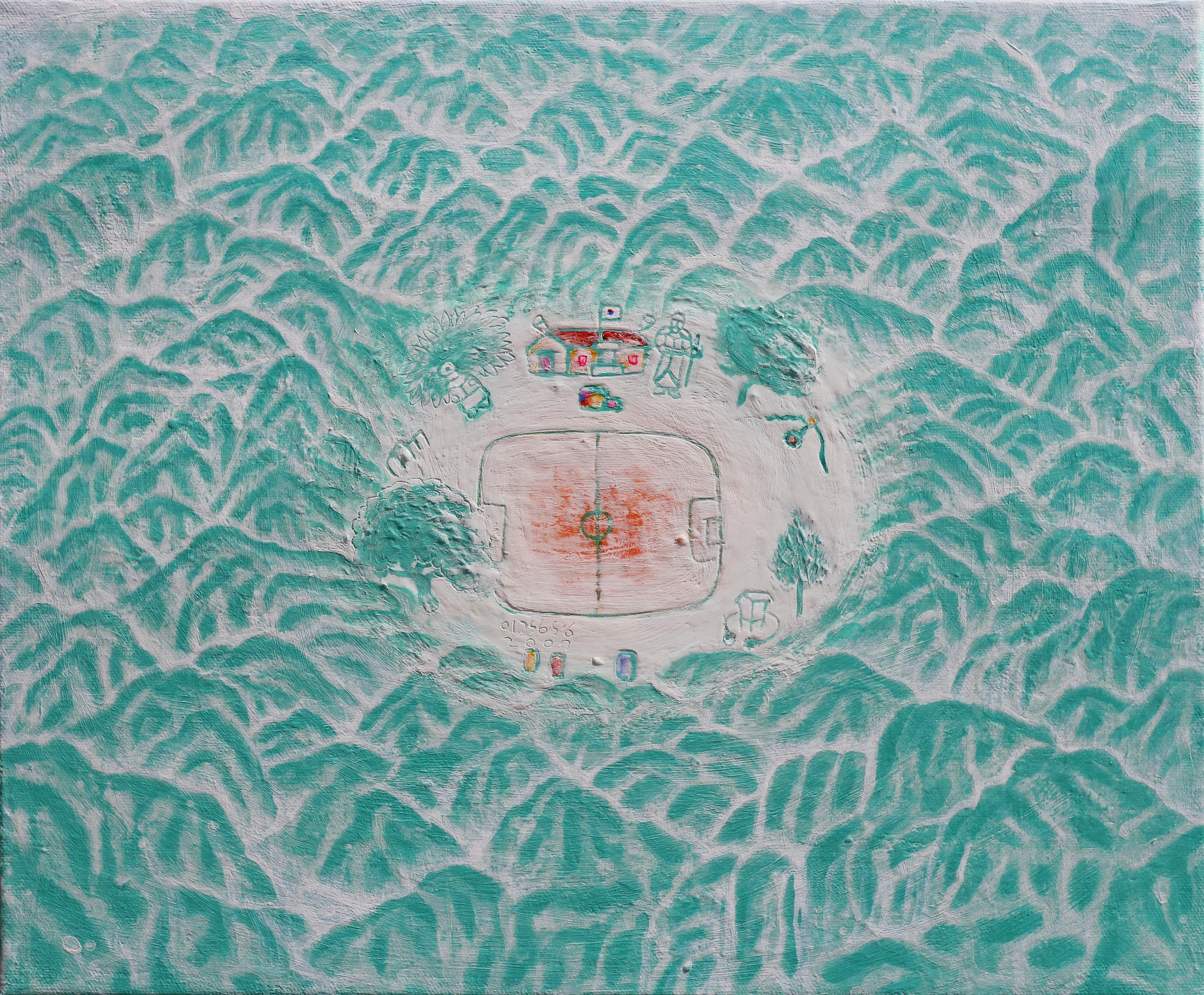 이경성002, 떨기나무-처음사랑 캔버스위에소멸침식법  45.5 x 33.4 2017