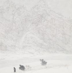 013, 임태규, 흐린풍경-동강, 80 x 80 cm, 한지 위에 백토