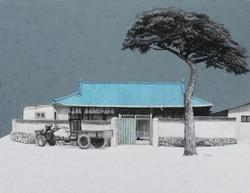 김용일, 도산종석이네집, 91x116.8cm, charcoal and acrylic on canvas, 2016