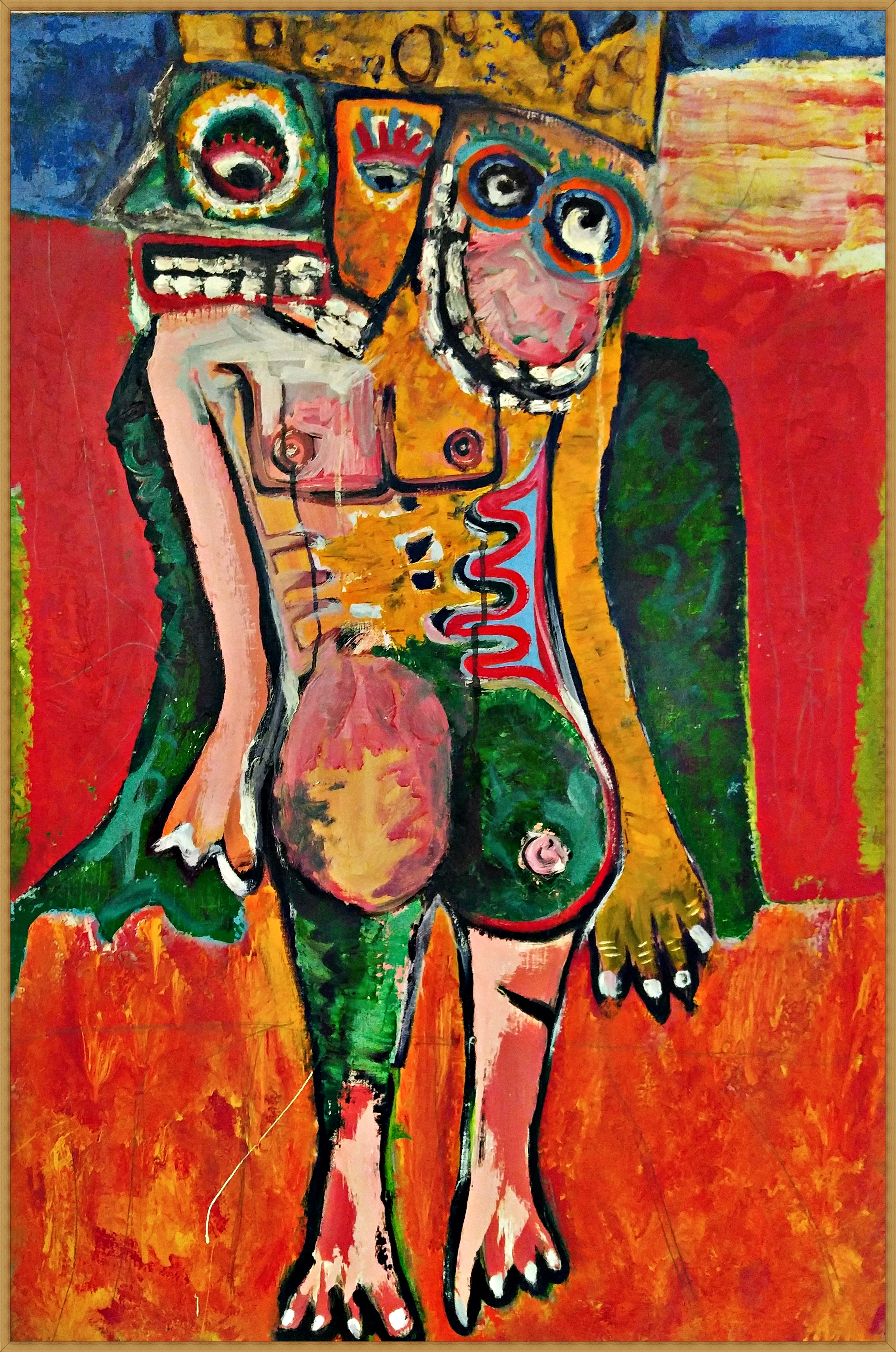 (최우 1) _ comedian.1_ 65.1x90.9cm_gold,oil,enamel on Linen canvas_2008(원목액자)