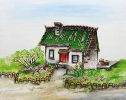17. 정원, 100x80cm, 캔버스에 흙, 실, 청바지, 2015