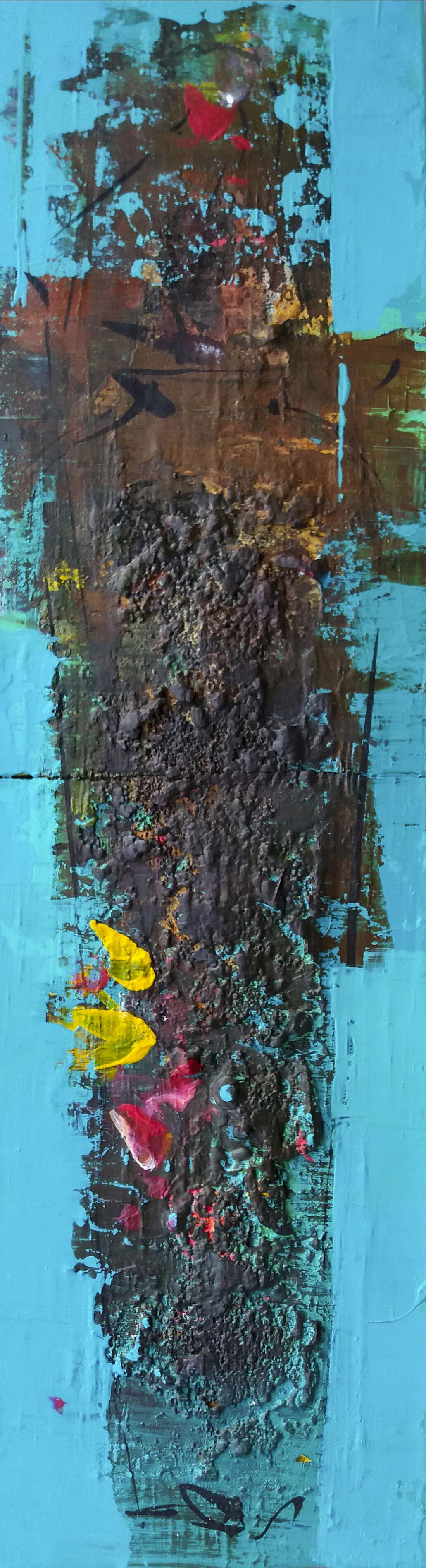 연상록004, 적벽강, 19cm x 67cm, 아크릴및 유화 ,혼합재료, 2017,