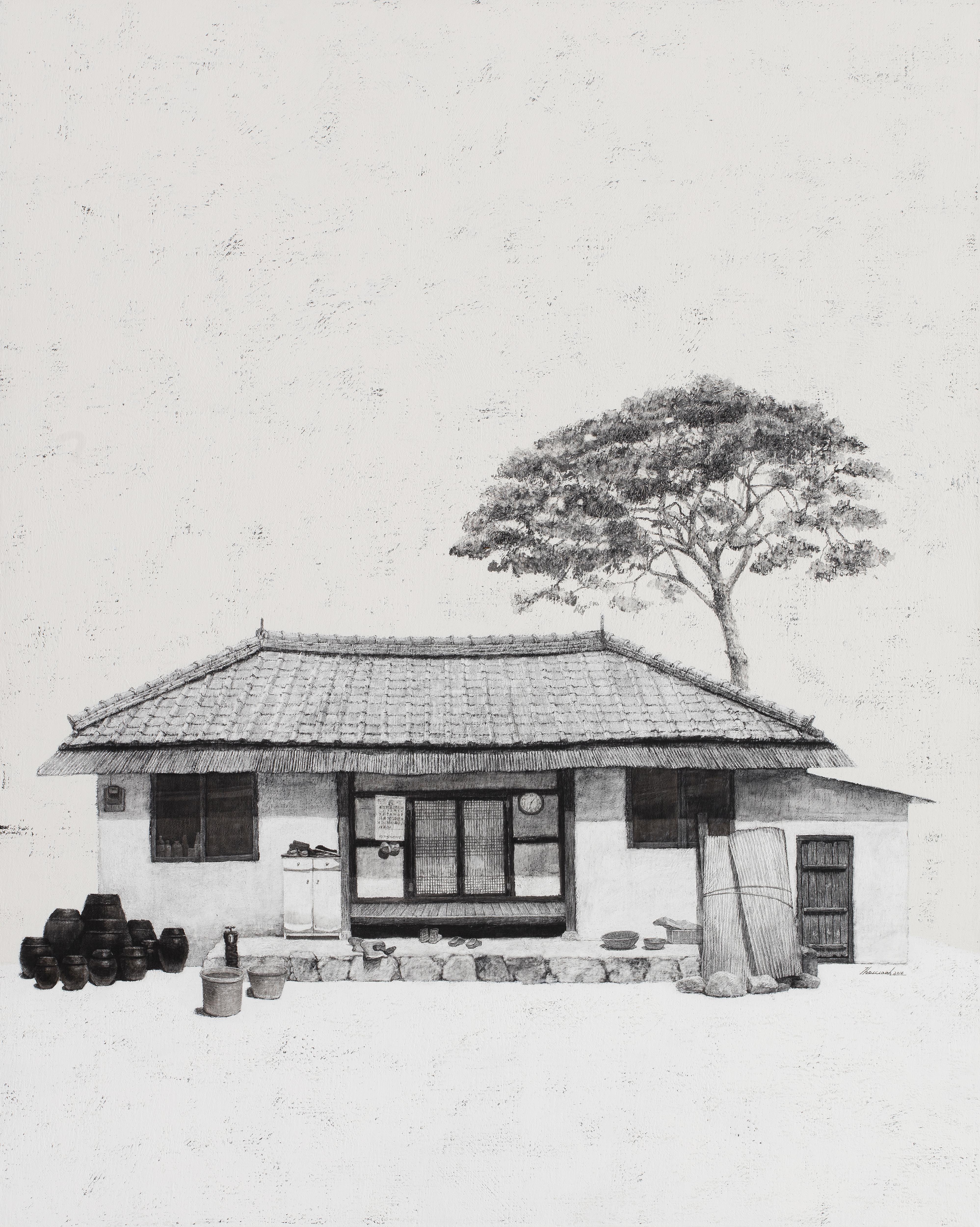 김용일, 생초진열이네집, 90.9x72.7cm, charcoal and acrylic on canvas, 2016