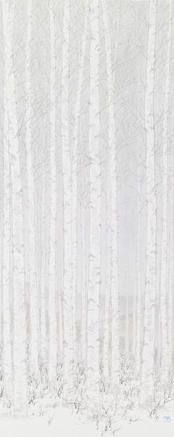 임태규 흐린 풍경-자작나무 아래 2 33X90 한지 위에 백토 수묵담채