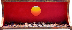 Sunrise - Faith,  Hope  and  Love, 63x27x14cm,  Acrylic , mixture  on  Wood, 2017