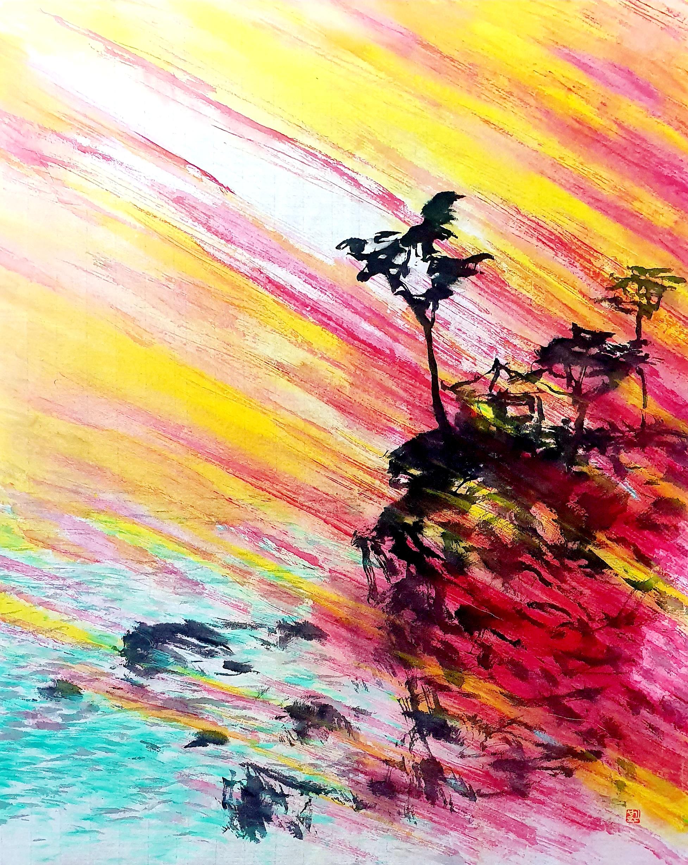 김성호1, 의상대 아침, 53 x 42 cm, 화선지에 수묵담채, 202