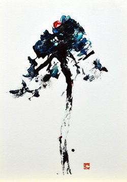 뜰앞에 소나무3, 30x21cm, 종이에 청묵 아크릴, 2017