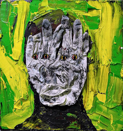 ugly duckling 23, 31cm x 31cm, oil. plastic. latex gloves, dirt and dust on canvas, 2017