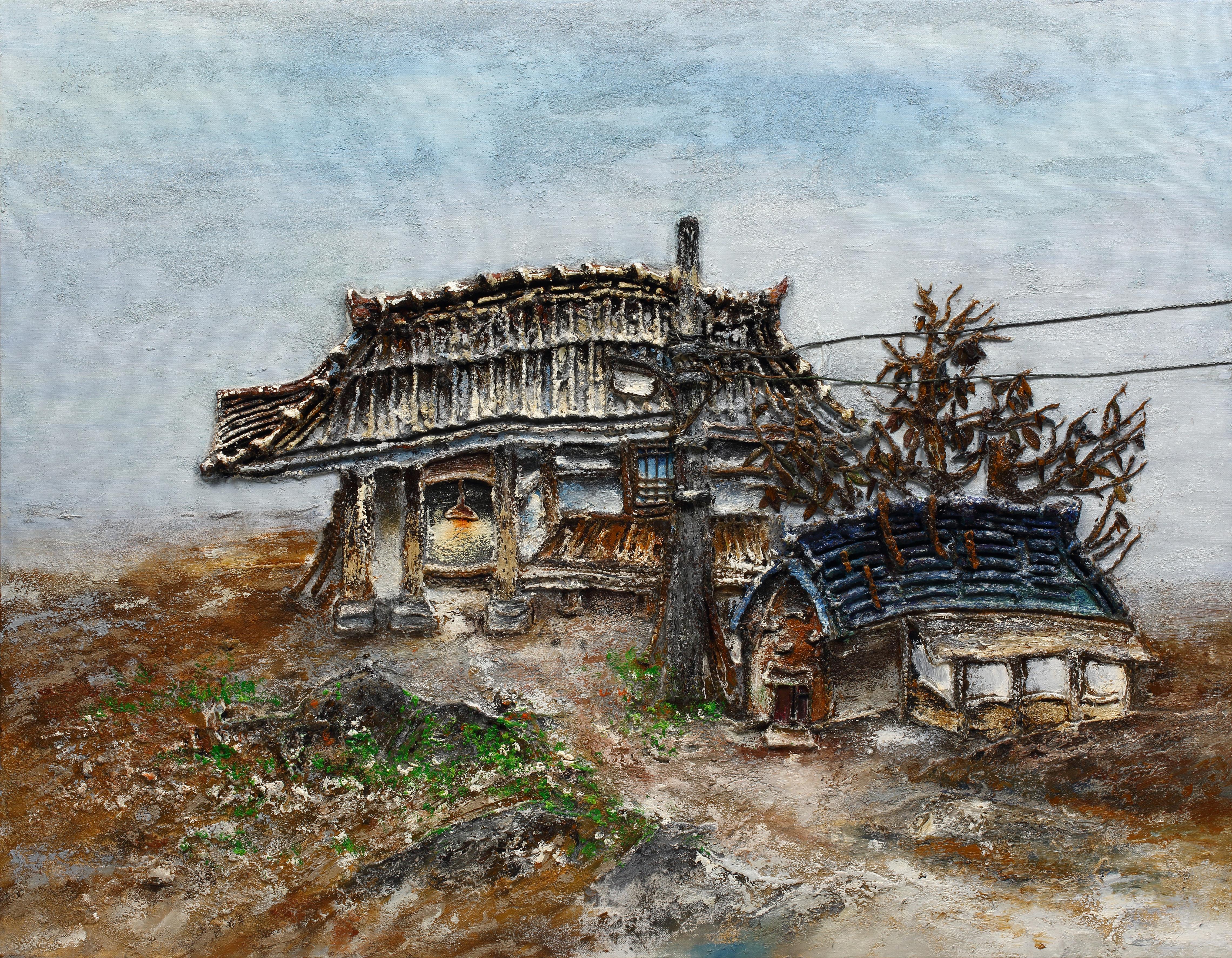 5. 고향집, 117x91cm, 캔버스 위에 흙, 실, 청바지, 2015.