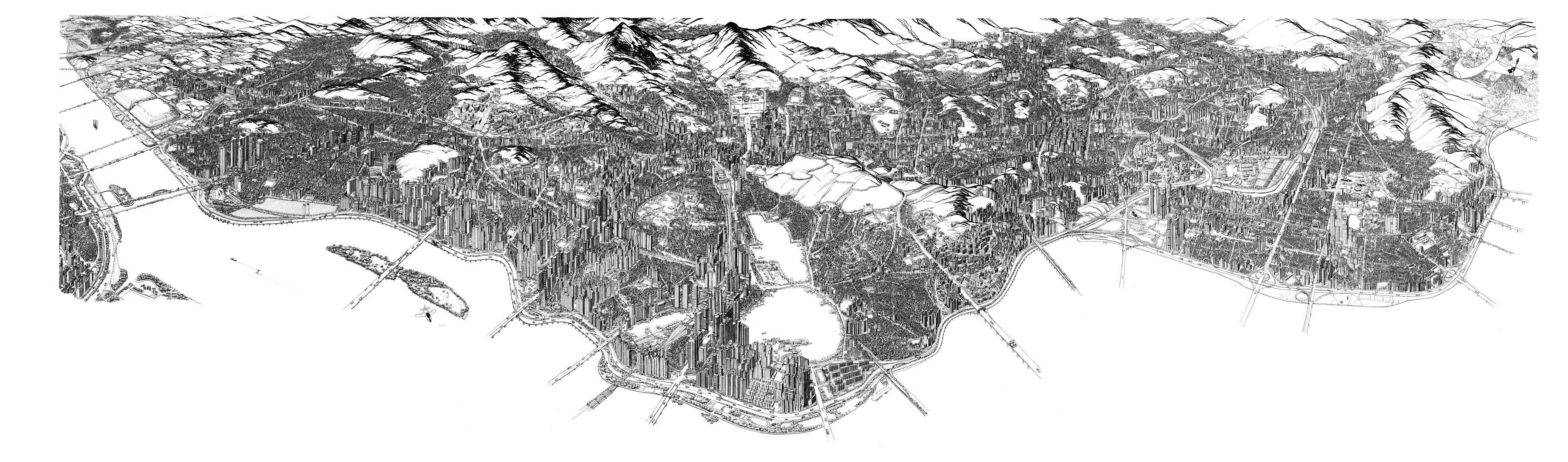 001, 안충기, 비행산수 서울-강북전도, 252 x 72 cm, 종이에