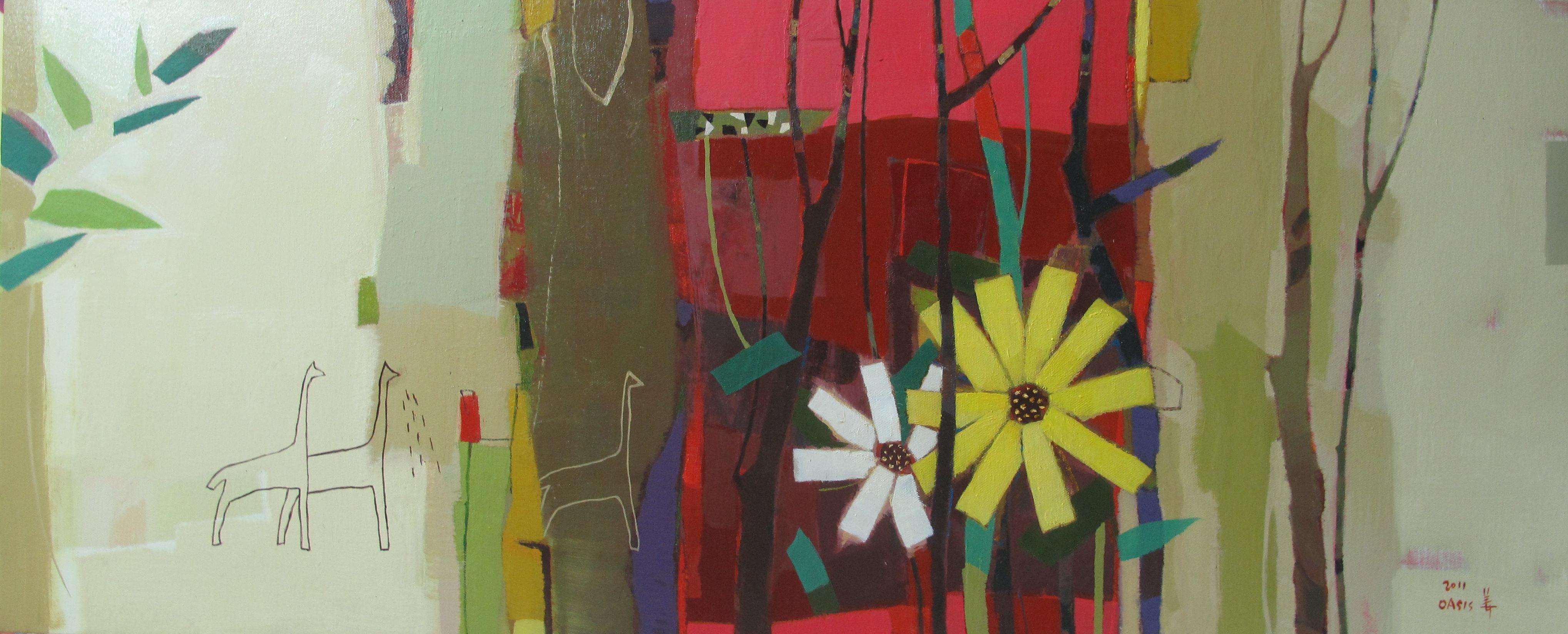 (강경화 3) _ Oasis-In The Forest_93x38cm_oil on pannel_2011