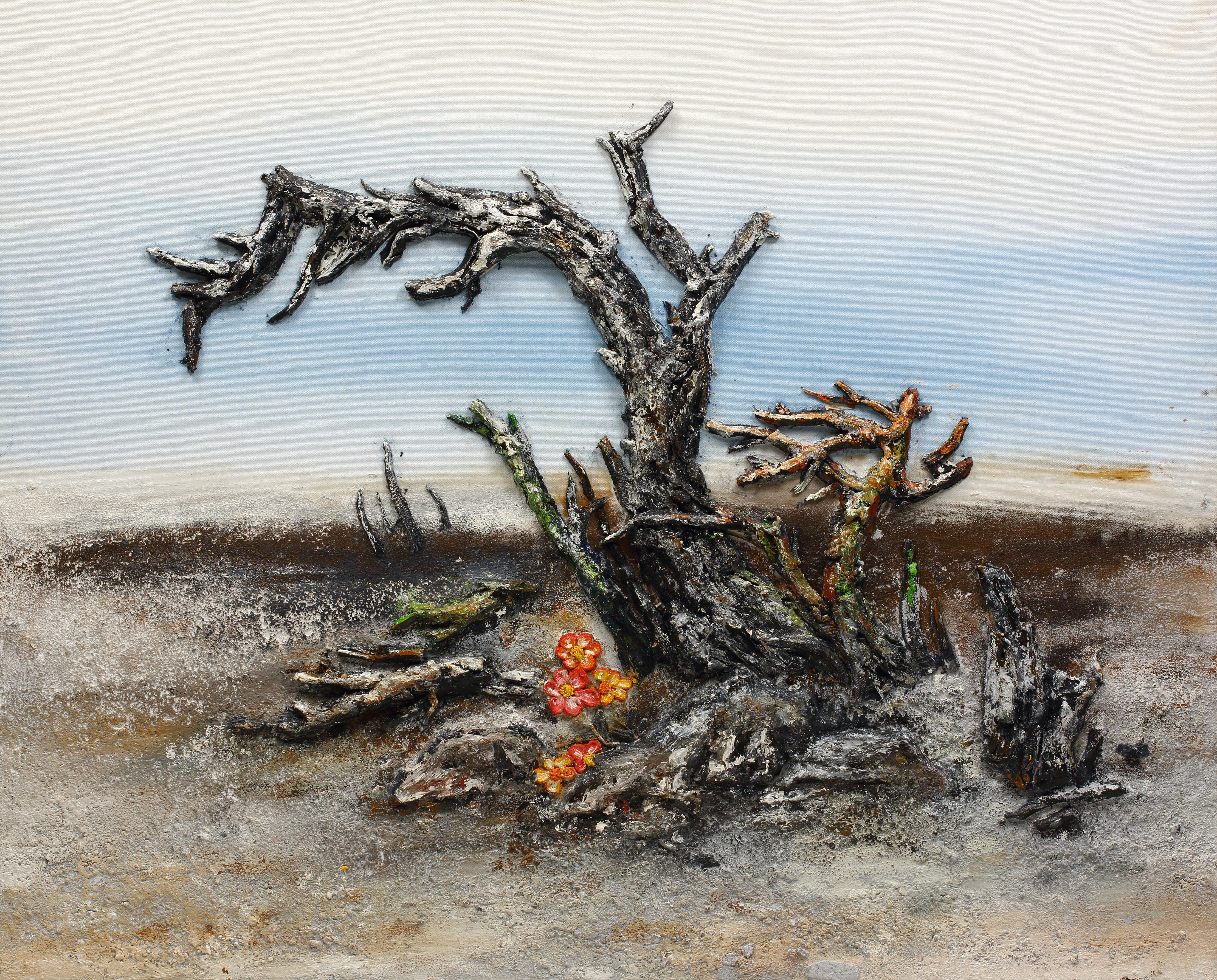7. 희망2, 100x80cm, 캔버스 위에 흙, 실, 청바지, 2016