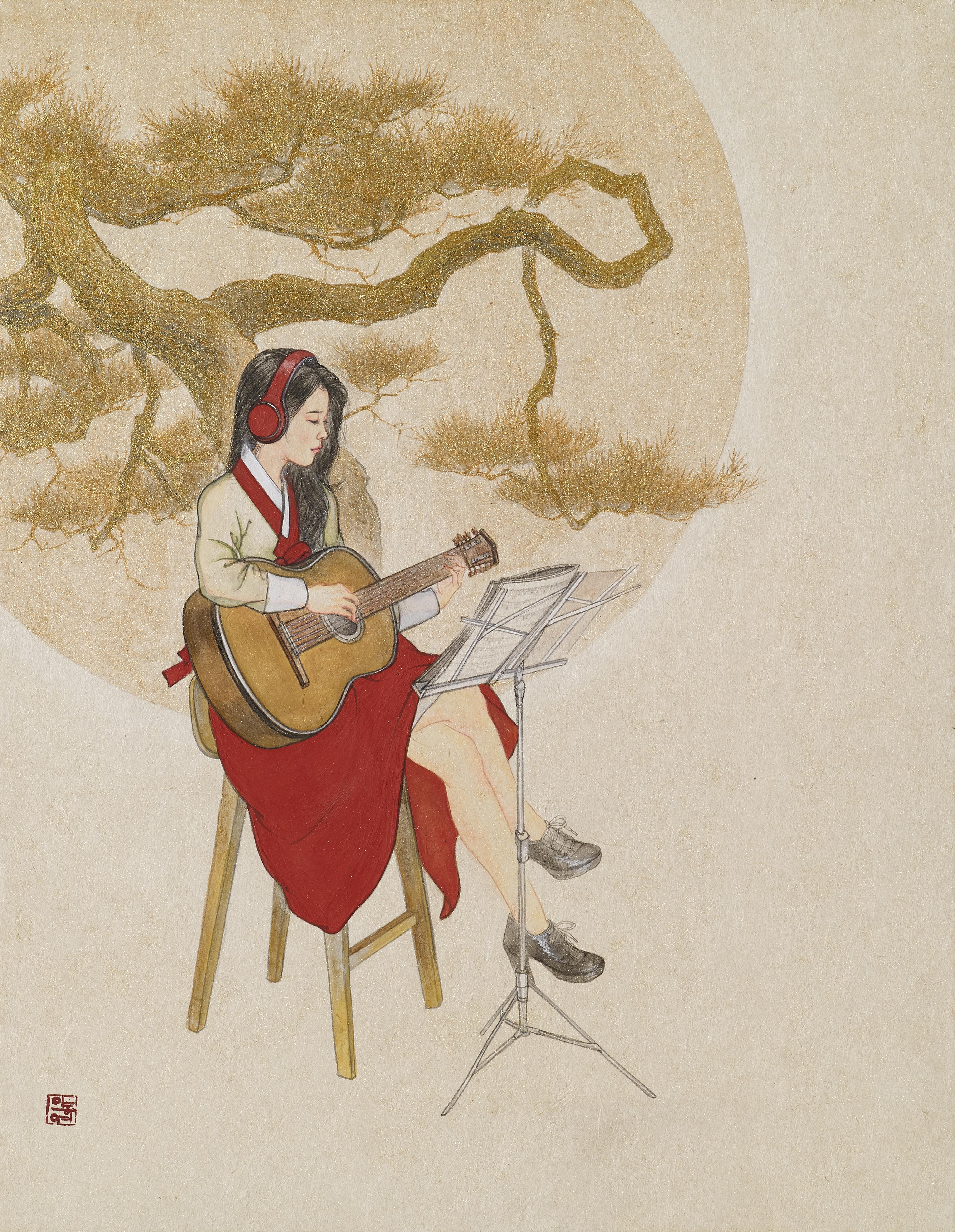 이동연_월하탄금(月下彈琴).31.8x40.9cm.장지,석채, 금분
