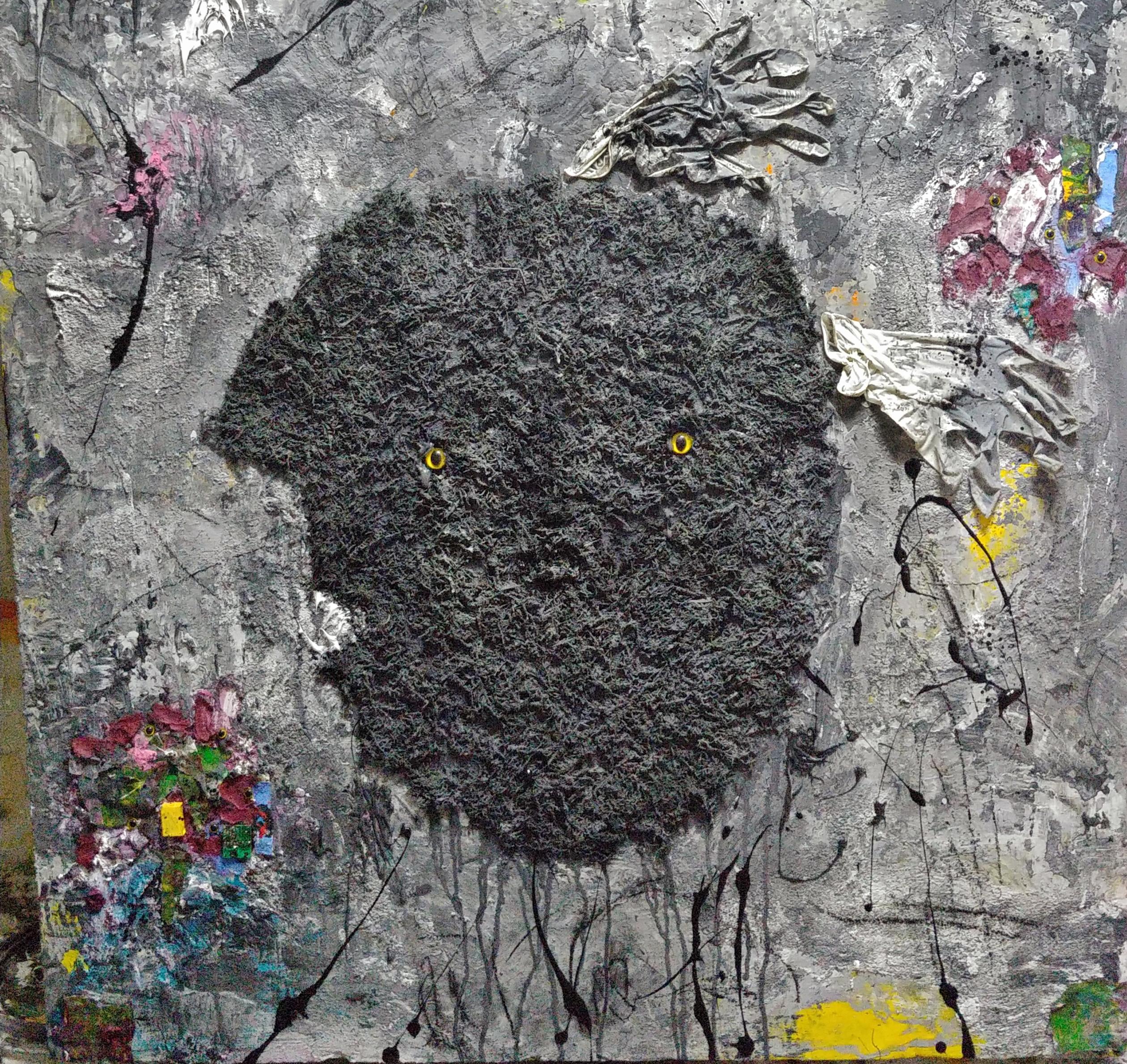 Ugly Duckling 30, 90x90cm, 종이, 플라스틱, 라텍스 장갑, 아크릴, 시멘트, 모레, 이끼 on 아이소핑크, 2017