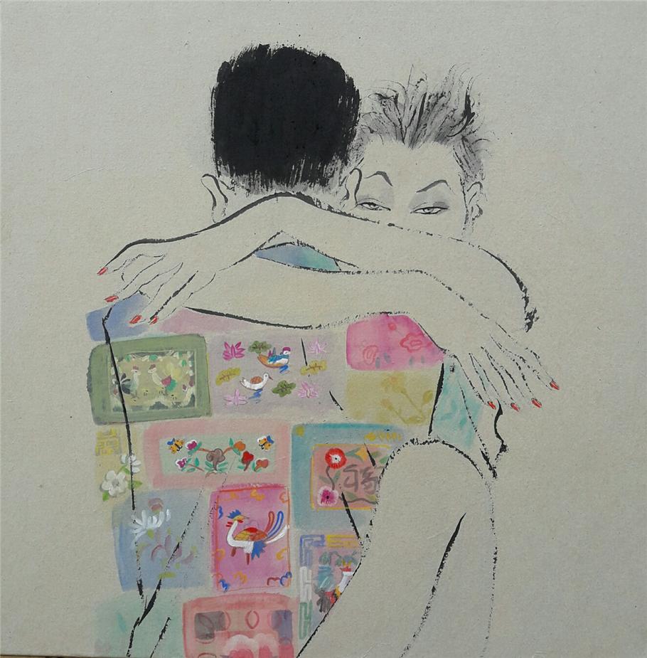 최경자, 베갯송사, 50x50cm, 한지위에혼합재료, 2017