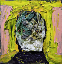 ugly duckling 24, 31cm x 31cm, oil. plastic. latex gloves, dirt and dust on canvas, 2017