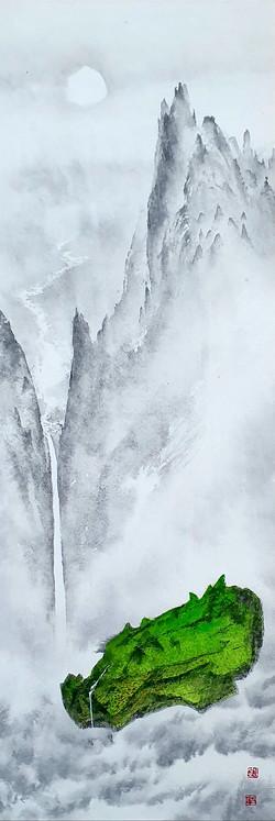 006, 김성호, 천산1, 23 x 69 cm, 화선지에 수묵채색, 20