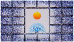 Sunrise - Faith,  Hope  and  Love, 62x42cm,  Acrylic , mixture  on  Wood, 2017