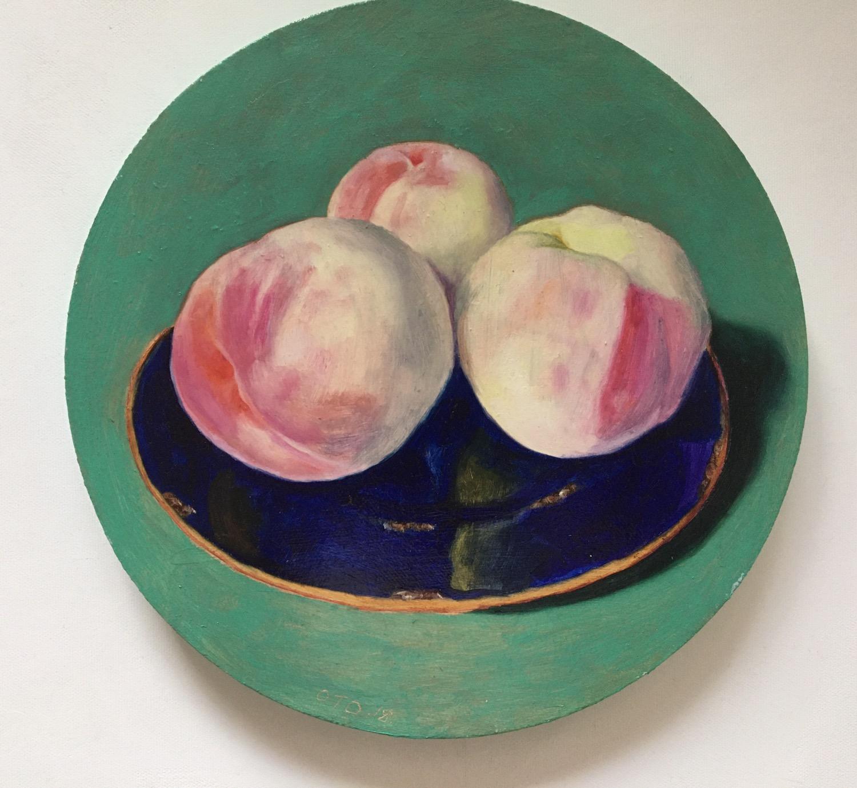 039, 세 개의 복숭아, 24 x 24 cm, oil on canvas