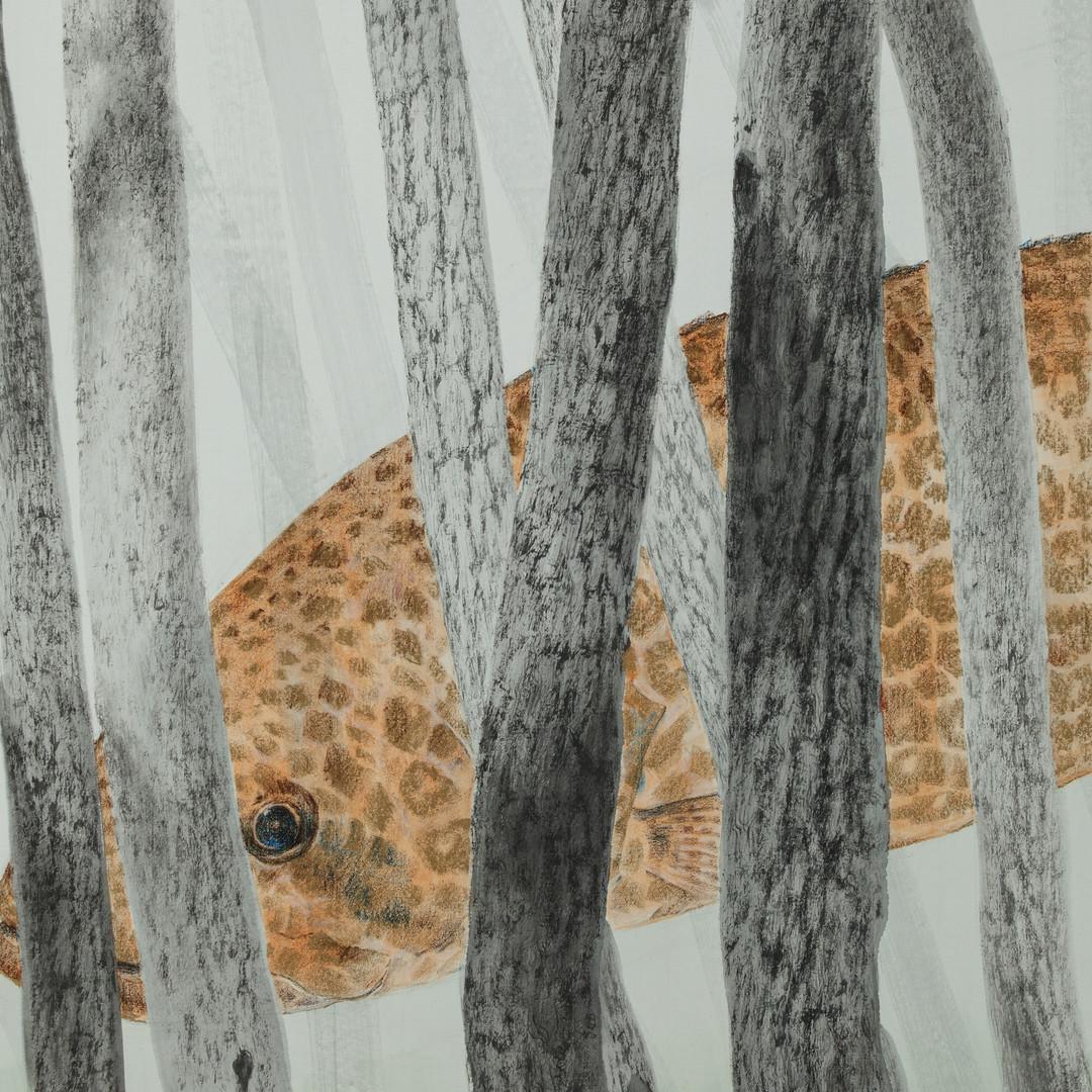 004, 그 숲에는 쏘가리가 산다, 117 x 68 cm, 종이에 먹 토