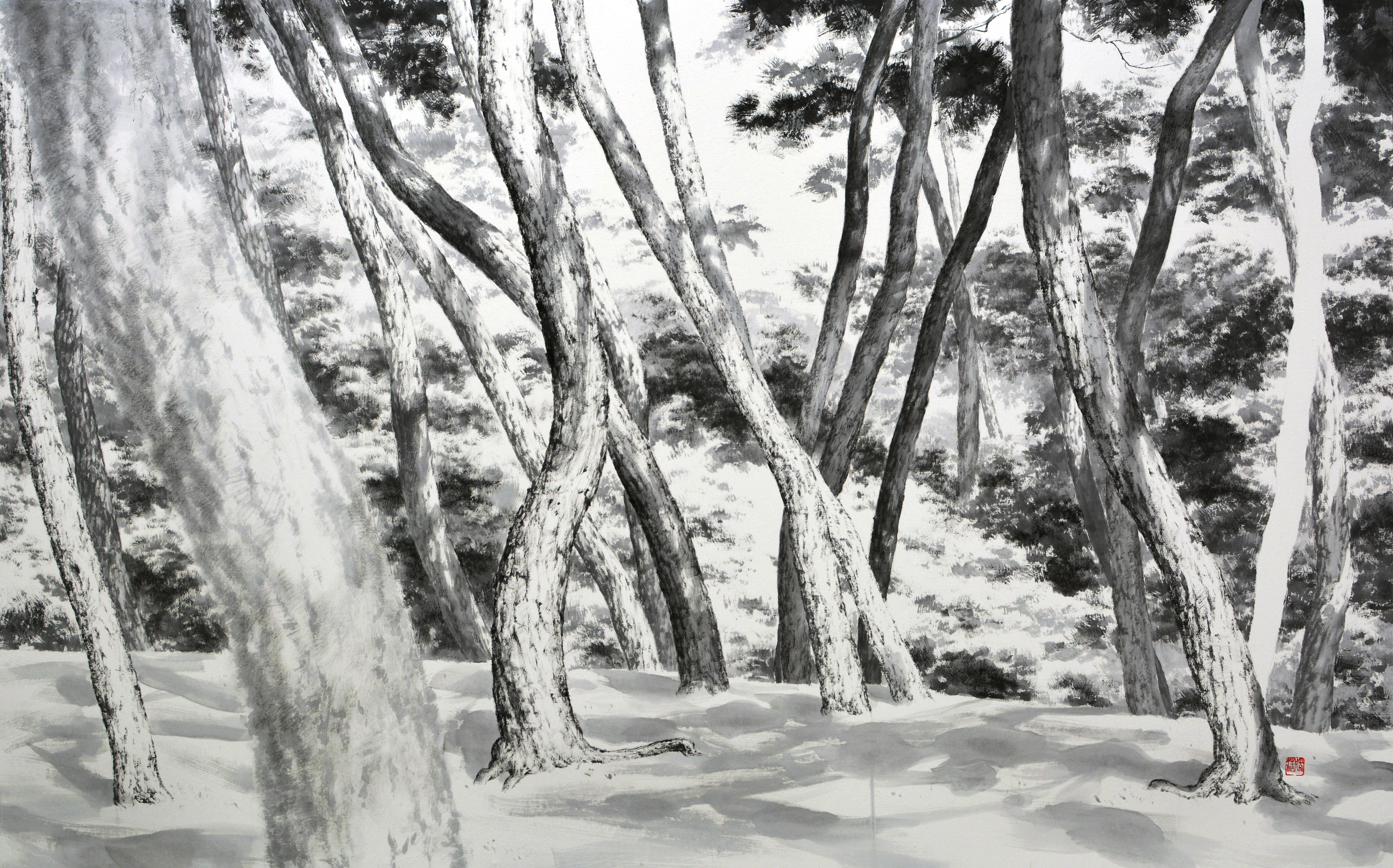 망중한, 195x122cm, 화선지에 수묵, 2016