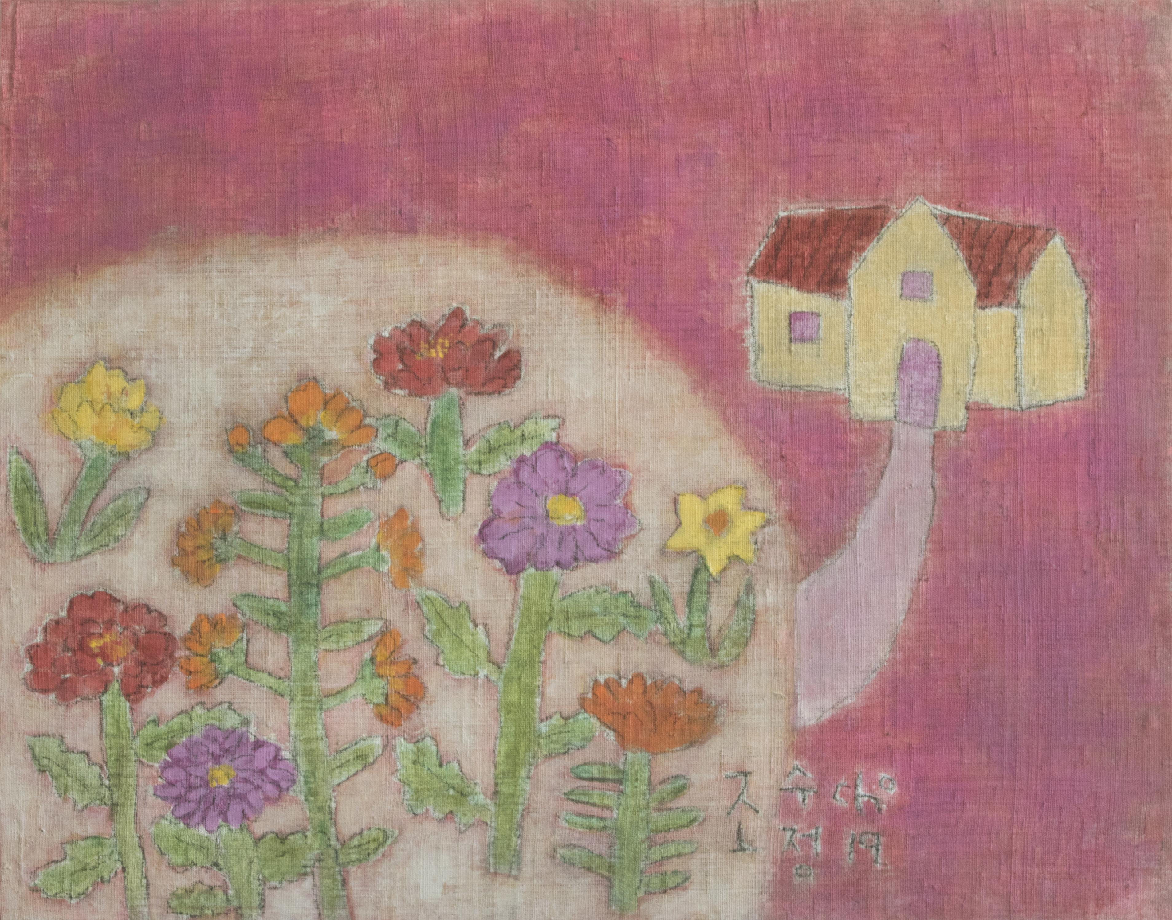 조수정2, 내 마음엔 언제나 봄이 와 있다, 70 x 55 cm, 삼베캔