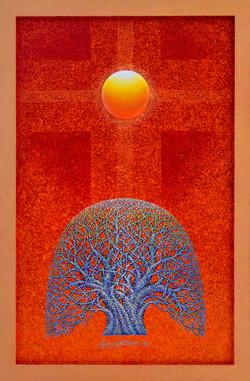 Sunrise - Faith,  Hope  and  Love, 60x90cm,  Acrylic , mixture  on  Wood, 2016