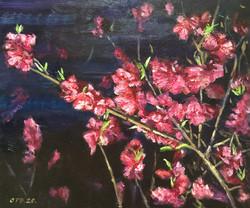 042, 봄밤-복숭아꽃, 45 x 38 cm, Oil on canvas,