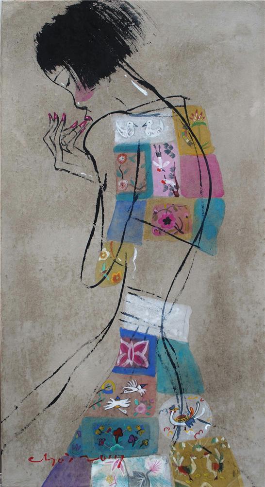 002, 최경자, 베갯송사, 65x35cm, 한지위에혼합재료, 2017.