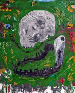 ugly duckling 13, 116.8cm x 91.0cm, oil,acrylic,plastic,epoxy, dirt and dust, paper,cement on canvas