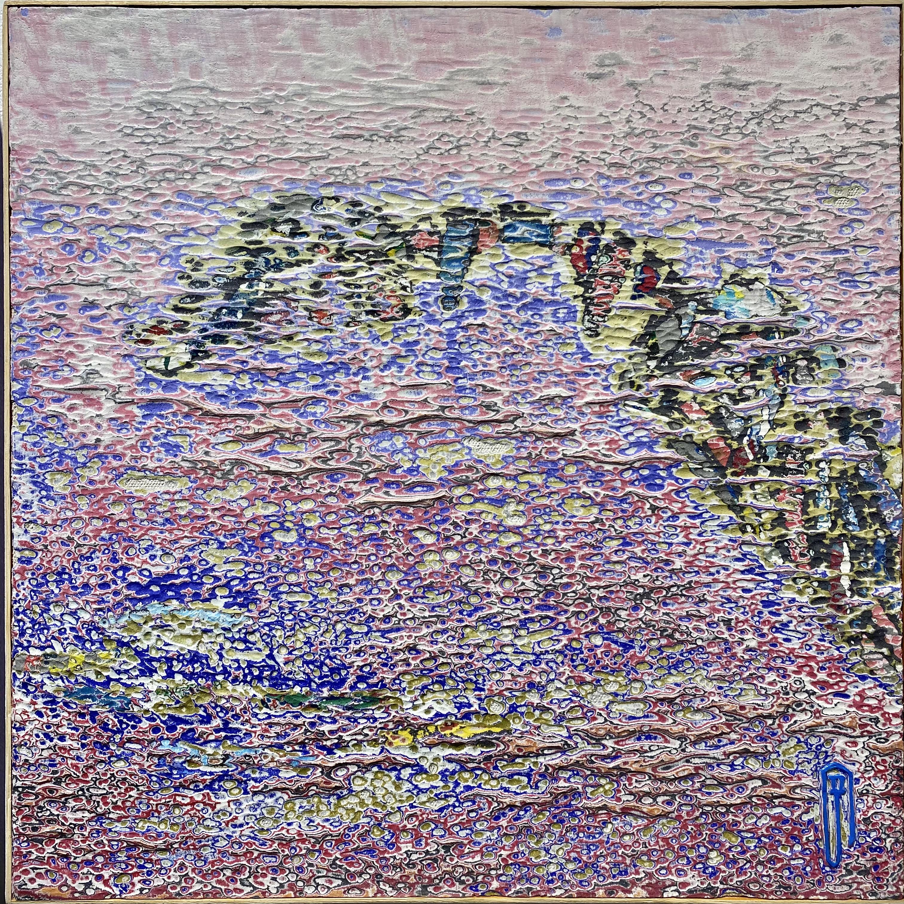 015, 김재신, 통영풍경, 35 x 35 cm(6호), 나무판 위 색조