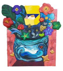 구채연, 선물, 53 x 56 cm, mixed media on canv
