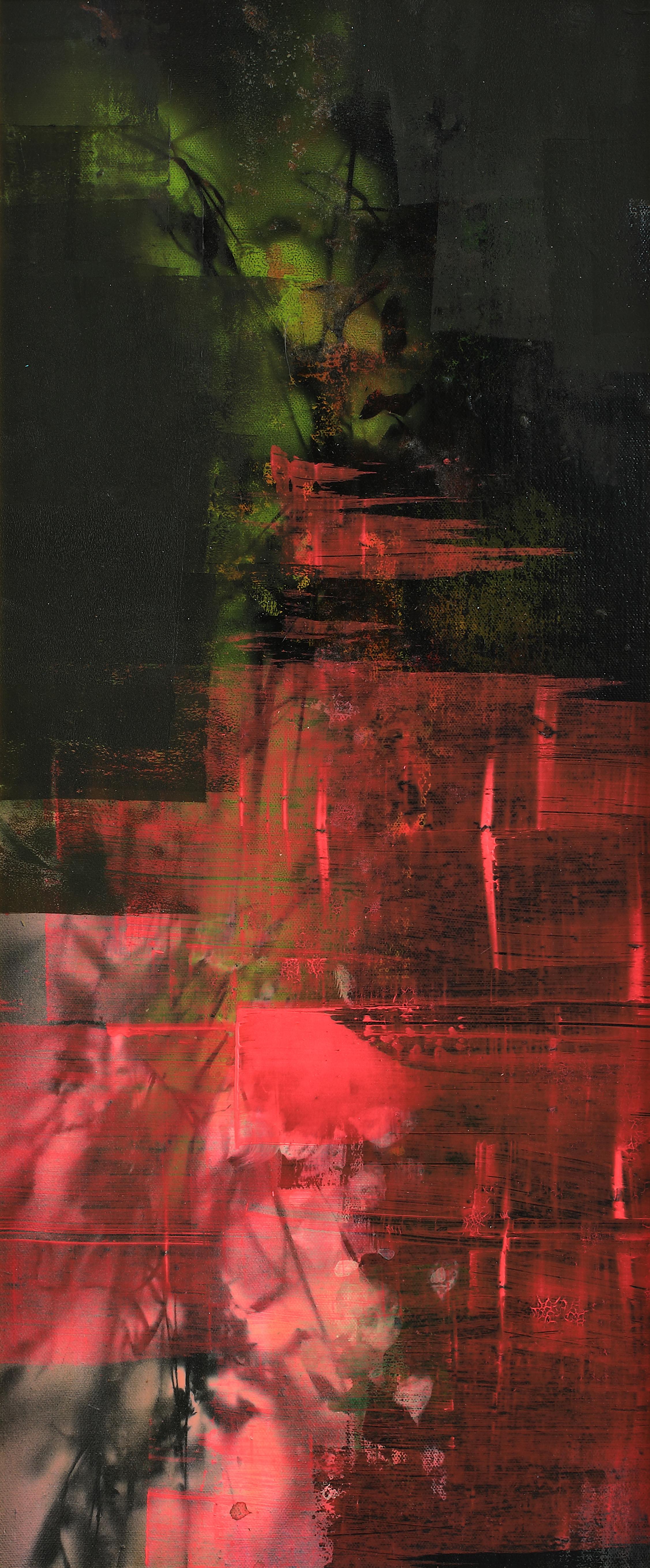 연상록3, 적벽강에 내린 꽃비, 30 x 70 cm(12호), 아크릴 및
