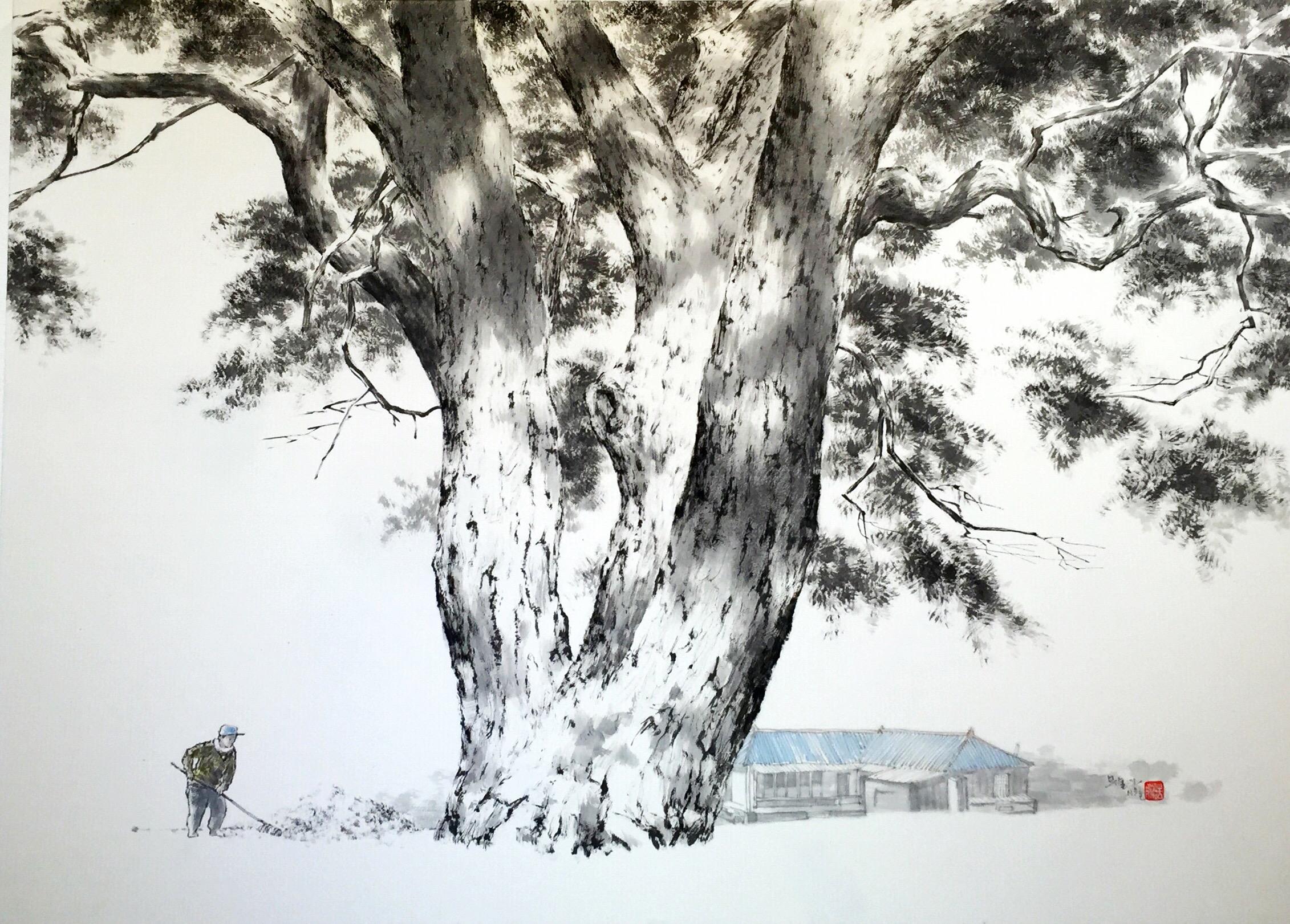 가을걷이, 72x100cm, 수묵담채, 2018