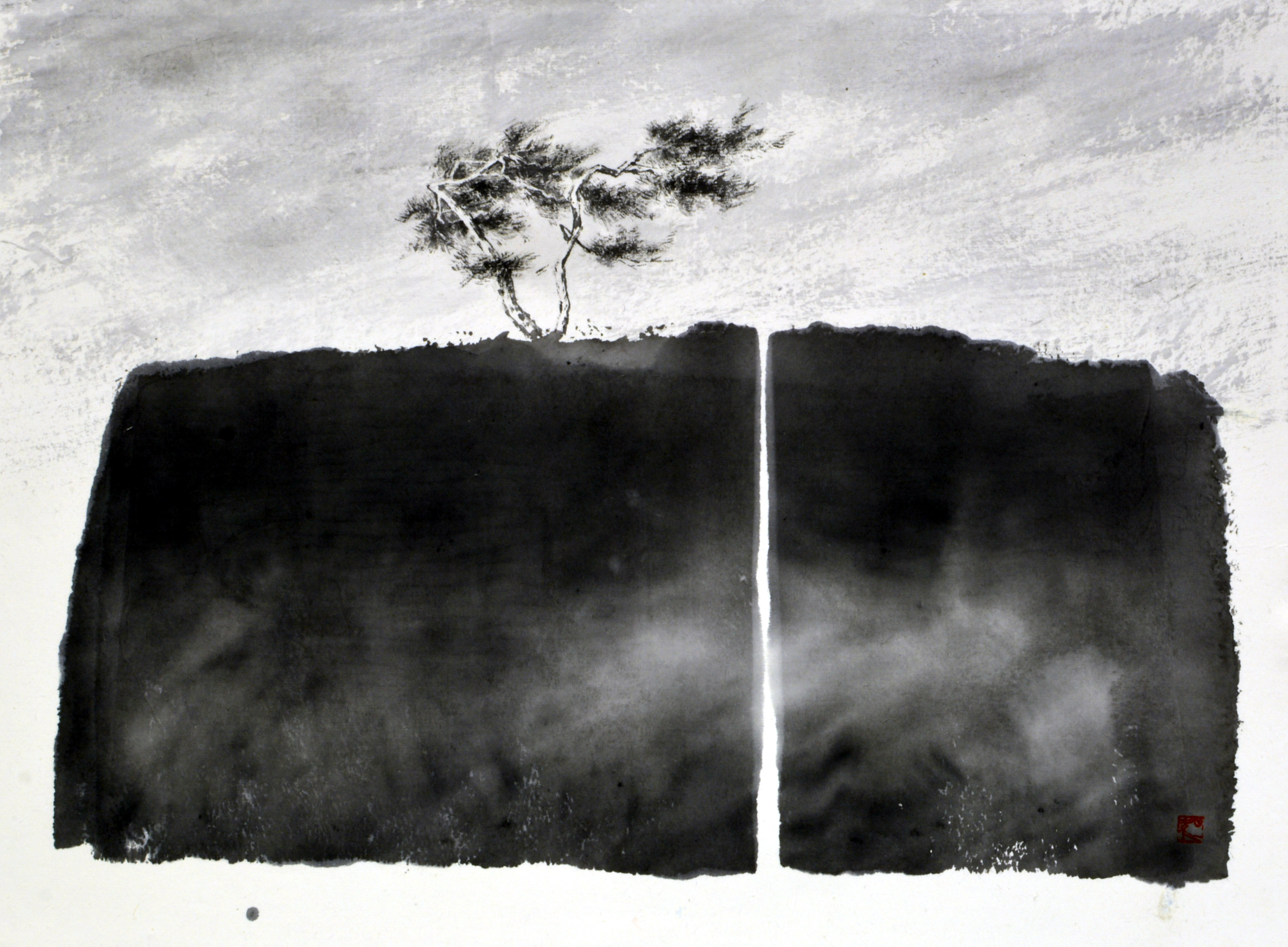 송승호004,오늘도 살아있음을., 45x34cm, 화선지에 수묵, 2017