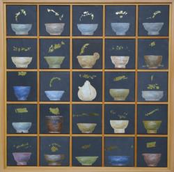 송승호, 차나 한잔 하시게11, 60.3 x 60.3 cm, 장지에 혼합재료, 2021, 250만원