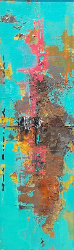 적벽강의 서정, 27x92cm, Acrylic on oil, 2016(2)